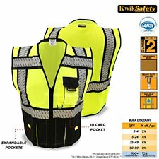 ❤ Kwiksafety Class 2 Black Fishbone Safety Vest Hi Vis Mesh Heavy Duty Zipper &