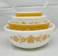 PYREX GLASS BUTTERFLY GOLD SET OF FOUR BOWLS # 402- 402-403-404
