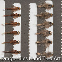 12 Gold Head Hares Ear & Pheasant Tail Nymphs Trout  Fishing Flies -Dragonflies