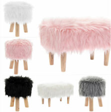 Luxury Wooden Furry Footstool Pouffe Stool Footrest Padded Seat Faux Fur Velvet