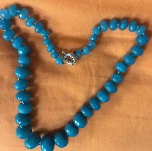 Real Aquamarine Necklace 10-18mm facet beads Audrey Hepburn 60s Look.UK SALE.NEW