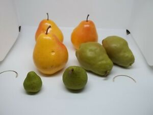 Lot of 7 Artificial Fruit, Pears Yellow & Green, Lifelike, Plastic, Props Ex Con