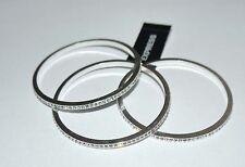Express 3 Silvertone Rhinestone  Bangle Bracelets NWT **