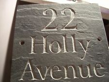 "Slate House Sign Door Gate plaque 6"" x 5""  ANY NAME / NUMBER!! FAST DISPATCH!!"