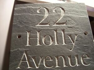 """Slate House Sign Door Gate plaque 6"""" x 5""""  ANY NAME / NUMBER!! FAST DISPATCH!!"""