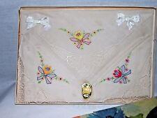 3 Vintage Ladies Hankies Original Box Delicate Floral Prints