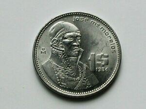 Mexico 1984 1 PESO Coin AU+ Lustre with Famous Jose Maria Morelos & Eagle