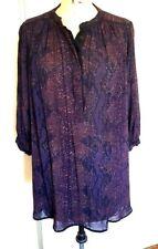 Rebecca Taylor long loose boho peasant tunic top blouse shirt 10