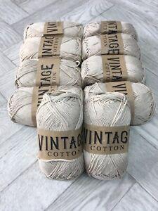 Vintage Cotton Yarn DK for Knitting / Crochet 10 x 100g Balls