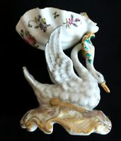 RARE ANTIQUE CHOISY LE ROY PORCELAIN SWAN HANDPAINTED CANDY DISH HALLMARKED