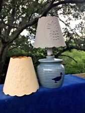 Antique Primitive COUNTRY DUCK GOOSE Pineapple PAPER CUT Shade Lamp + FREE ❤️J8