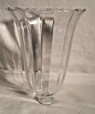 Antique Victorian clear ribbed glass TULIP Bell shape Lamp light shade Hurricane