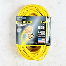 100' 12 Gauge Yellow Extension Cord w Lighted End - MADE IN USA