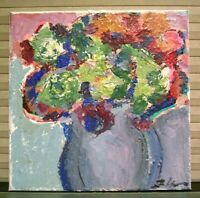 Vintage Abstract Expressionist Still Life Flowers Painting Signed