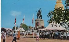 Thailand Siam Suphan Buri - Monument of King Naresuan old chrome postcard