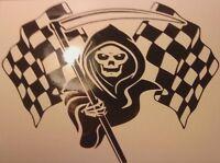 "medium 12x8""  grim reaper racing flag rally car bonnet vinyl graphic sticker vw"