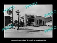 OLD LARGE HISTORIC PHOTO OF GOODLAND KANSAS THE SINCLAIR SERVICE STATION c1940