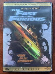 Rápido And The Furious DVD 2001 Acción Película Con / Paul Walker + Vin Diesel