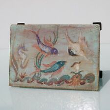 Arts and Crafts enameled box with fish.