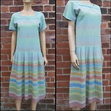 80s Does 20s Vintage Muted Rainbow Stripe Cheesecloth Drop Waist Sailor Dress