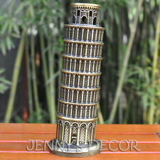 "ARCHITECTURE METAL MODEL 8"" ITALY LEANING TOWER OF PISA REPLICA TRAVEL SOUVENIRS"
