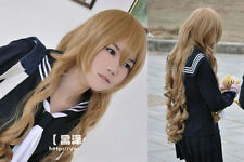 Long Flaxen Brown Wavy Bouncy Aisaka Taiga Cosplay Party Wig + free wig cap