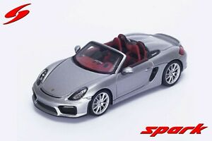 Spark S4931 1/43: Porsche Boxster Spyder 2015 Silver with Red and Grey Interior