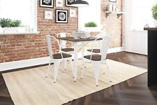 Industrial Small Dining Table Vintage Distressed White Metal Country Kitchen