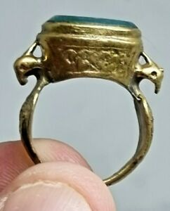 EXTREMELY RARE NEAR EAST GOLD GILTED RING SEAL EAGLE FIGURES.9,3 GR.18 MM