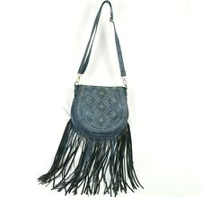 Western Shoulder Bag Cowgirl Cross body Fringe Purse Blue Studs PU Faux Leather