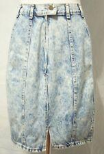 "VTG Chic Women's Size 11 Stonewash Blue Jean Denim Knee Length Skirt 28"" Waist"