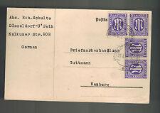 1946 Dusseldorf Germany Postcard Cover to Hamburg AMG Stamps