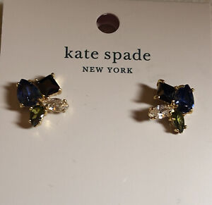 Kate Spade Flying Colors Gold Tone Blue Multi Cluster Stud Earrings NWT