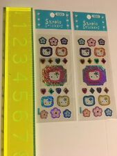 Vintage Sanrio Original 1997 Hello Kitty Stickers Sticker Sheet Retro Glitter 2x