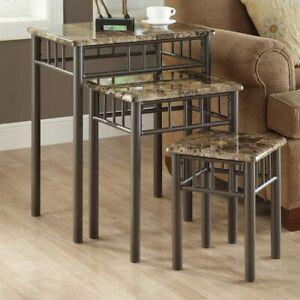 Monarch Specialties Bronze Metal Nesting Table Set New