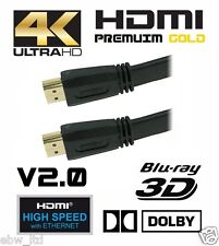 FLAT 1.5M *Premium* HDMI V2.0 Gold Cable *High Speed+Ethernet* 4k x 2k Res,