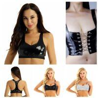 Women Wet Look Leather Bralette Bralet Bra Bustier Tank Crop Top Vest Rave Dance