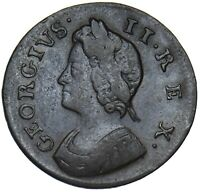 1739 FARTHING - GEORGE II BRITISH COPPER COIN - NICE