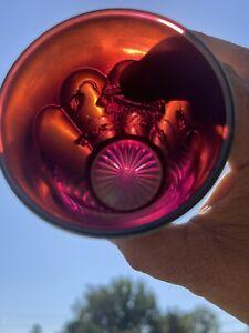 Northwood Carnival Glass Amethyst/ Purple Oriental Poppy Tumbler!