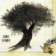 5 SERVIETTEN NAPKINS OLIVE TREE CREAM 33X33 OLIVENBAUM OLIVE ZWEIG GIESSKANNE
