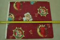 """19"""" Long x 44"""" Wide, Large Angels on Burgundy Cotton, C1743"""