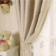 Kids Room Solution Blockout Eyelet Curtains 180cm x 230cm (Drop) Beige Stars