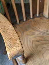 Antique Victorian Elm and Oak Farmhouse Spindle Back Carver Chair