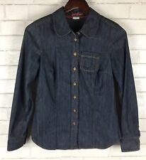 Boden Womens Chambray Button Down Shirt Dark Denim Size US4/UK8 Long Sleeves