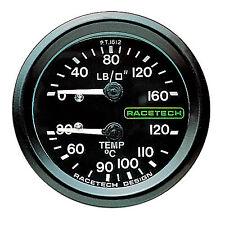 Racetech Mechanical Fuel Pressure 52mm Gauge 1//8 BSP Fitting Luminated