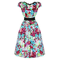 Hearts & Roses London Bright Floral Print Vintage 50s Party Prom Summer Dress UK