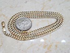 "Chain cuban 14k Solid Real Gold 24"" Inch 14g 4 mm Italy Tri Yellow White Rose"