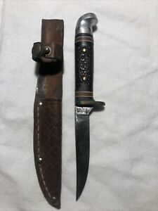 """Vintage Western USA Sheath Knife #628 A Bird Trout Fixed Blade W Sheath  6-1/4"""""""