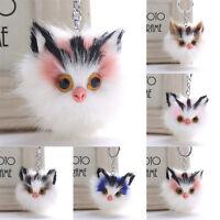 Cute Cat Fur Ball Pompom Keychain Bag Car Pendant Keyring Birthday Lovely Gift
