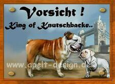 Englische Bulldogge  mit Welpe  / Türschild / Warnschild